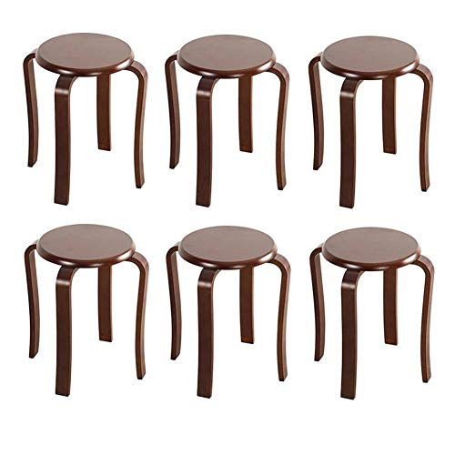 STAR-LIFE Round Stool Solid Wood, Stacking Sturdy Chair Small Round Table Stools, Anti-Slip Bentwood Stool,Pack of 6 (Color : Walnut Color)