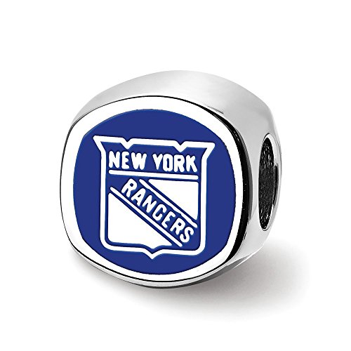 (Solid 925 Sterling Silver New York Rangers New York Rangers Banner Cushion Shaped Double Logo Bead Charm Very Small Pendant)