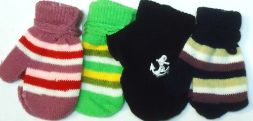 Four Pairs of Multicolor Magic Mittens for Infants Ages 3-12 Months