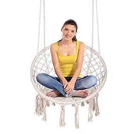 ENKEEO Hammock Chair Macrame Swing, Hanging Rope C...