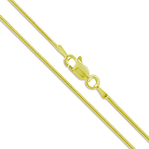 22k Yellow Gold Plated Sterling Silver Magic Snake Chain 1mm Solid 925 Italy New Brazilian Necklace 28""