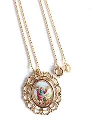 archangel michael medallion gold plated chain necklace 17 inches cm long handmade. Black Bedroom Furniture Sets. Home Design Ideas