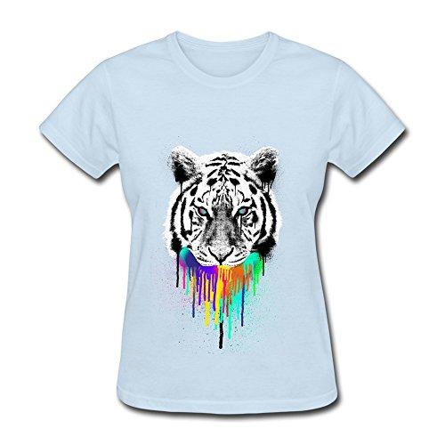 Design Women's T-shirts Funny Tiger Bites Color Size L SkyBlue