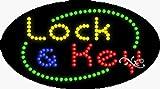 15x27x1 inches Lock & Key Animated Flashing LED Window Sign