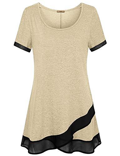 Miusey Shirts for Women,Maternity Oversized Summer Tops Flowy Swing Short Sleeve Loft Clothing Soft Surroundings Stylish Casual Wear O Neck Chiffon Hem Shirt Pure Color Beige XXL
