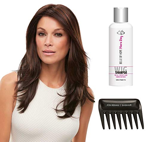 (3PC Bundle: Alessandra Synthetic Lace Front, Mono Top Wig, Wide Tooth Comb and 4oz Mara Ray Luxury Wig Shampoo (24BT18 Dark Natural Ash) )