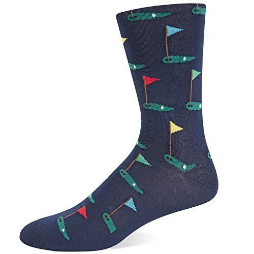 Hot Sox Men's Novelty Sporting Crew Socks, Golf (Navy) Shoe Size: 6-12
