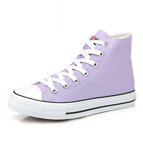 Lienzo Clásico Primavera,Los Amantes Del Zapato Sólidos Del Color Planos,Alta Zapatos Casuales,Cordón Finos Zapatos Del Estudiante H