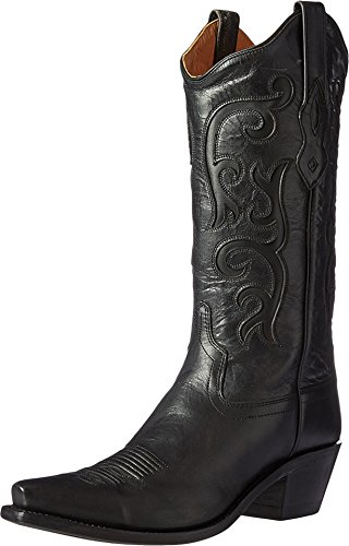 Old West Black Womens All Over Leather 12in Snip Toe Stitch Cowboy Boots 8 B