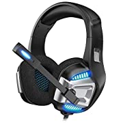 #LightningDeal Gaming Headset for Xbox One, PS4 Gaming Headset with 7.1 Surround Sound Stereo, Noise Canceling Over Ear Headphones with Mic, LED Light, Soft Memory Earmuffs for Nintendo Switch, PC, Mac, Laptop