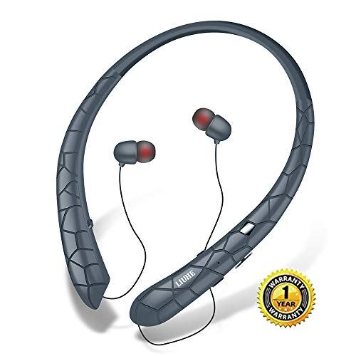 Bluetooth Headphones LIUHE Wireless Headphones Neckband Retractable Earbuds Noise Cancelling Stereo Headset Sport Earphones with Mic (Grey)