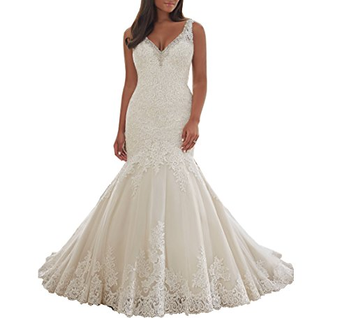 Beauty Bridal Elegant V Neck Crystal Mermaid Wedding Dresses for Bride(16,White)