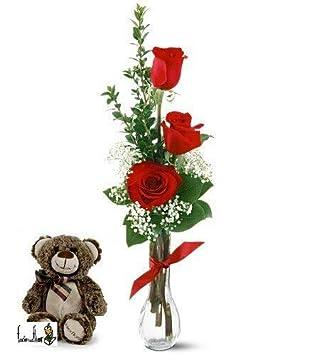 Tres rosas naturales rojas en jarrón + peluche osito floro + nota personalizada gratis