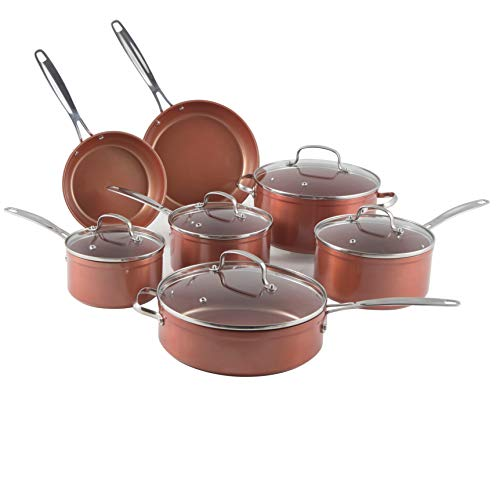 Nuwave Copper 12 Piece Ceramic Duralon Forged Cookware Set with Lids