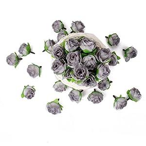 Tinksky 50pcs 3cm Artificial Roses Flower Heads Sew on Wedding Dresses Wedding Favors (Grey) 107