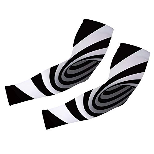 uideazone Black White Striped Pattern Arm Sleeve with UV Protection Cooling in Summer Arm Warmers in Winter Arm Sleeves for Men Women Cycling Sleeves for Bikers Comfortable Sports Sleeve