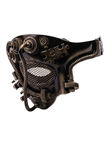 [Steampunk Gold One-Eye Half Mask] (Steampunk Costumes Men)