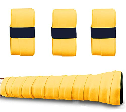 QZCCC Tennis Racket Grip Tape 3 Pieces with Eco Friendly Material, Absorb Moisture and Anti-Slip Overgrip Tape for Racquetball, Badminton or Bike Bar – Burnt Yellow