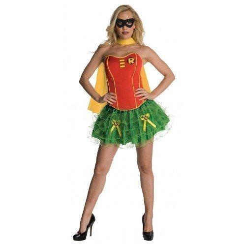 Ladies Batgirl Supergirl Wonder Woman Robin Super Hero Corset Tutu Halloween Hen Do Fancy Dress Costume Outfit 6-18 (UK 6-8, Robin) ()
