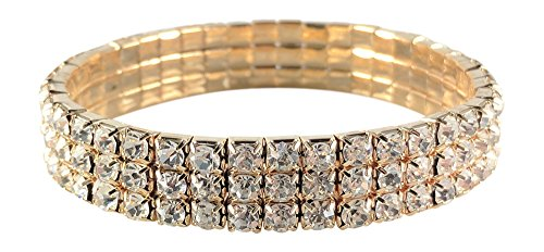 SIMPLICHIC Single Pack, Pack of 2, 3 Row Rhinestone Stretch Bracelet Gold-Tone Silver-Tone (gold (single))