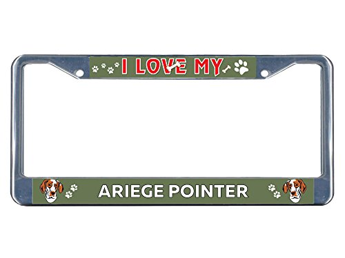Sign Destination Metal Insert License Plate Frame Ariege Pointer Dog I Love Weatherproof Car Accessories Chrome 2 Holes Solid Insert Set of 2 1