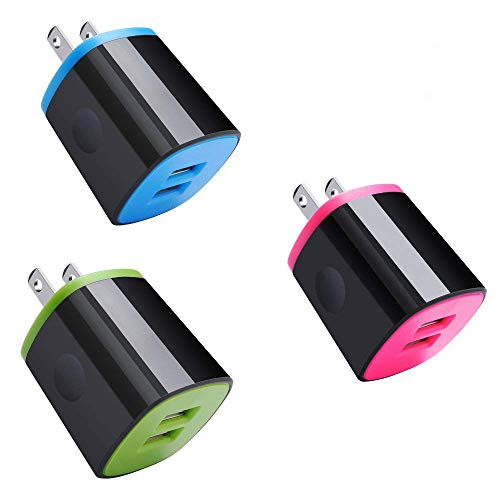 Wall Charger Block, 3-Pack Colors Dual USB Port Charger Adapter, Fast Charging 2.1A Power Station Compatible for Samsung Galaxy Note 9/S9/S9+/S8/S8+, iPhone XS/XR/X/8/7, Motorola Moto/G6/G6S and More