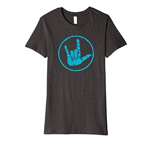 Female Sign (Womens Sign Language I Love You Sign - ASL Retro Distressed Design Medium Dark Heather)