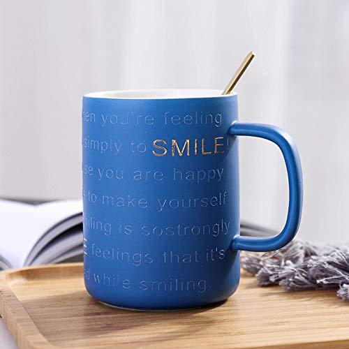 SHUIBEIHHY New Gold Embossed Letter Ceramic Mug with Spoon,450ml Drinkware Mugs Gift,Porcelain Mugs Coffee Cup Coffee Tea Milk Cup