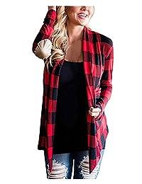 CutyKids Women Cardigan Plaid Long Sleeve Open Front Elbow Patch Cardigan Blouse