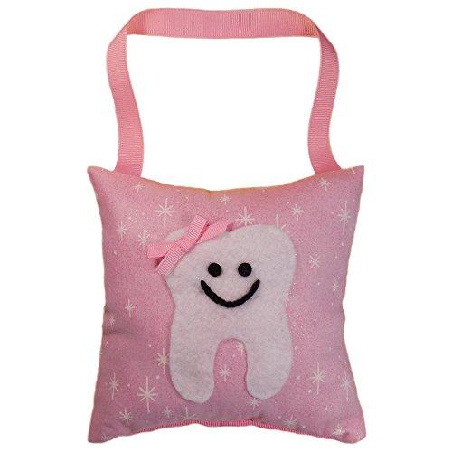 Tooth Fairy Pillow Keepsake, Girl's Stars, Glitter, and Sparkle Design Print - Light Pink