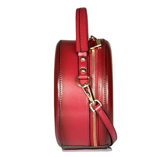 Handbag Fashion Shoulder Bag Messenger Purse For Leather Bag Package Retro Red Handbag Minimalist Women Round qISxpYrwIB