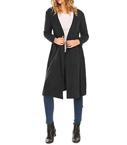 Long Plain Cardigan Black Coat ZEAGOO Belt Front Sleepwear with Straight Women Trench Open anffwCq5x