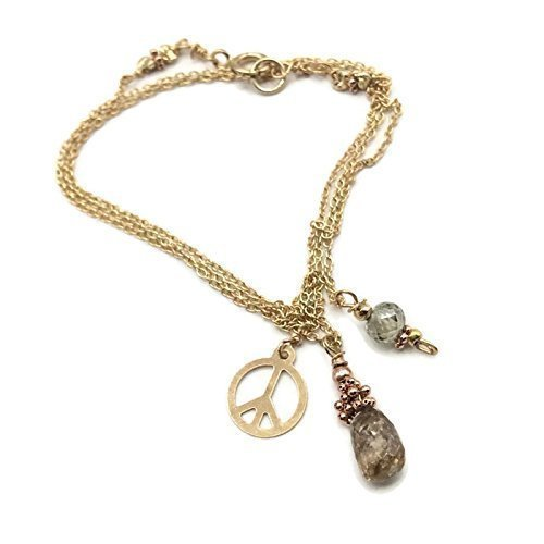 VAN DER MUFFINS JEWELS | 1.7 Carat 14K Yellow Gold Diamond Peace Necklace | Anniversary Birthday Gifts | SALE | 16 Inches