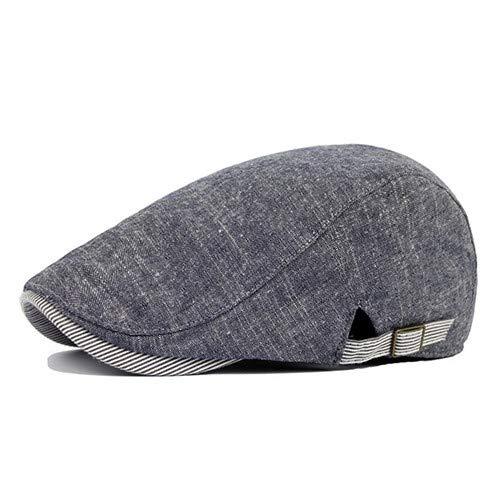 Men Vintage Cowboy Retro Cotton Cap Duckbill Beret Sunhat Casual Hip Hop Hat (Denim Blue)