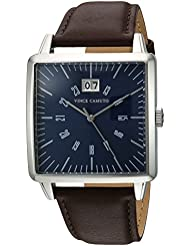 Vince Camuto Mens VC/1095NVSV Date Calendar Dial Silver-Tone and Brown Leather Strap Watch
