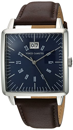 Vince Camuto Men's Quartz Stainless Steel and Leather Dress Watch, Color:Brown (Model: VC/1095NVSV)
