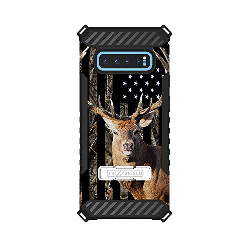 (Trishield Hybrid Case with Kickstand for Samsung Galaxy S10 by InfoposUSA Camouflage Deer USA)
