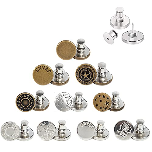 AXEN 10PCS Button Pins for Jeans, No sew Perfect Instant Fit Button, Simple Installation Instant Reduce or Extend Pants Waist, Style 1