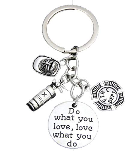 Fireman Love What You Do, Do What You Love Keychain-Hat,Extinguisher,& Fire Dept Medal