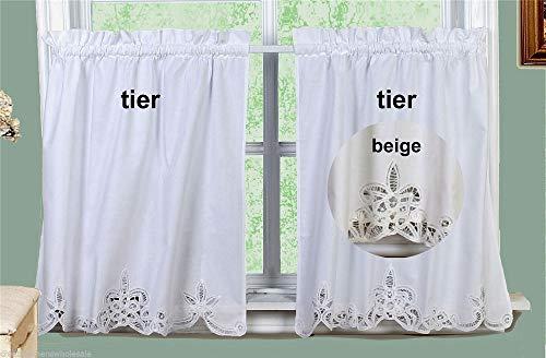 Battenburg Lace Kitchen Curtain Tier Swag Ecru Beige Creative Linens 24