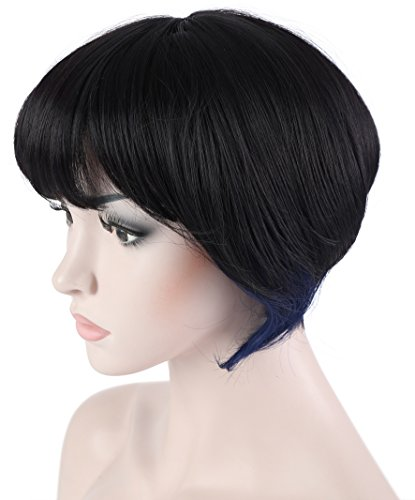 Onedor 10 Inches Straight Cosplay Costume Short Wig with Blue Strands of Hair