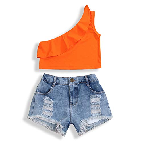 YOUNGER TREE 2Pcs Fashion Toddler Kids Baby Girl Denim Shorts Sets Sleeveless T-Shirt Ripped Shorts Independent Day Outfits (Orange +Light Blue, 6-7 Years) ()