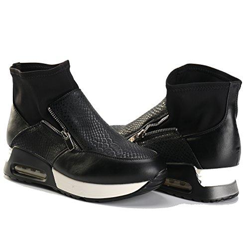 Alexis Leroy - Zapatillas de deporte altas en con elástico y calcetín mujer Negro