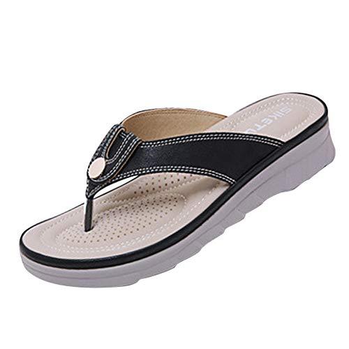 (iFOMO Womens Summer Slippers Indoor Outdoor Non-Slip Flip Flop Sandals Black US 7.5)