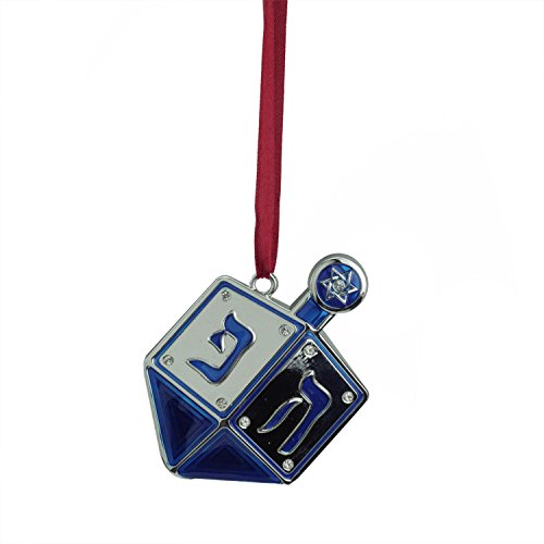 Northlight Regal Shiny Silver-Plated Blue Dreidel Hanukkah Holiday Ornament with European Crystals, 3