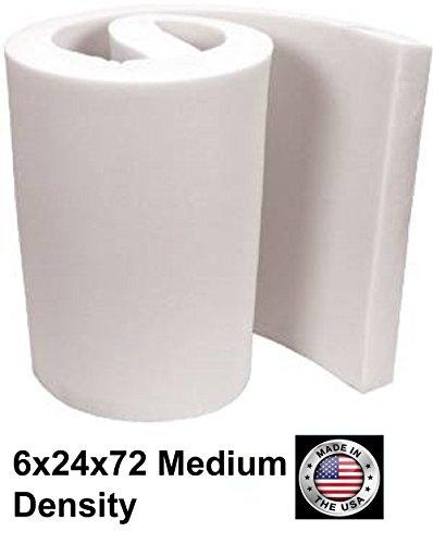 6' Mattress (FoamTouch Upholstery Cushion Medium Density Standard(Seat Replacement, Sheet, Foam Padding), 6'' L x 24'' W x 72'' H)
