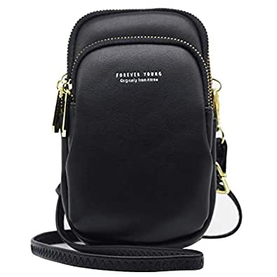 Uche Lightweight Roomy Pockets Small Crossbody bag Cell Phone Purses Wallet for Women Black Size: Small