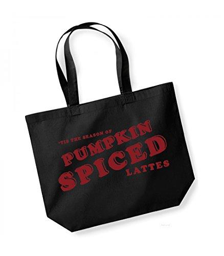 Tis the Season of Pumpkin Spiced Lattes - Large Canvas Fun Slogan Tote Bag Black/Red