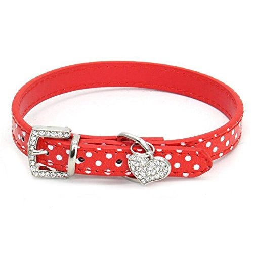 Dogs Kingdom 12-20 Length Cute Polka Dot Dog Collar with Rhinestones Heart Pendants and Crystal Buckle Clasp for Dogs Cat Pet,Red,XS