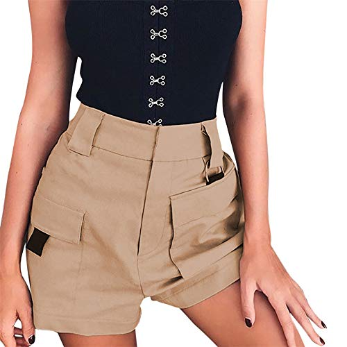BAOHOKE Women's High Waist Casual Cargo Shorts,Wide Leg Pants with Pocket(Khaki,S) ()